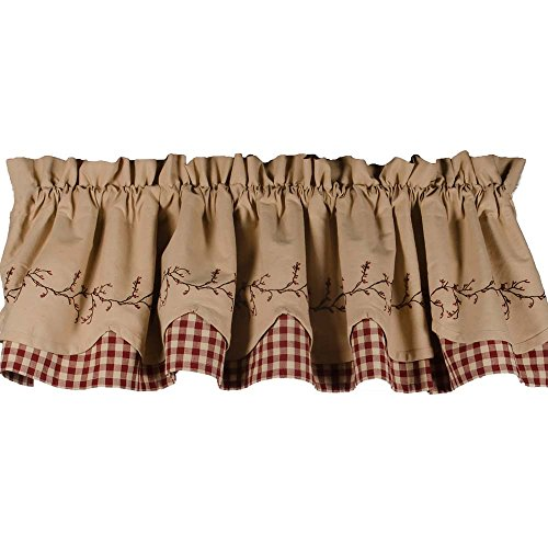 - Primitive Home Decors Berry Vine Check Fairfield Valance - Barn Red