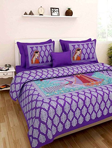 Zesture Bring Home rajasthani cotton floral king size bedsheet with 2 pillow covers