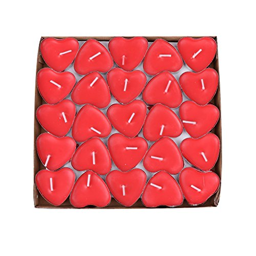 BecuseOf 50Pcs Set Heart Shaped Candles, Love Candle Bulk for Valentines Day Birthday Wedding Party Home Decors (Red)