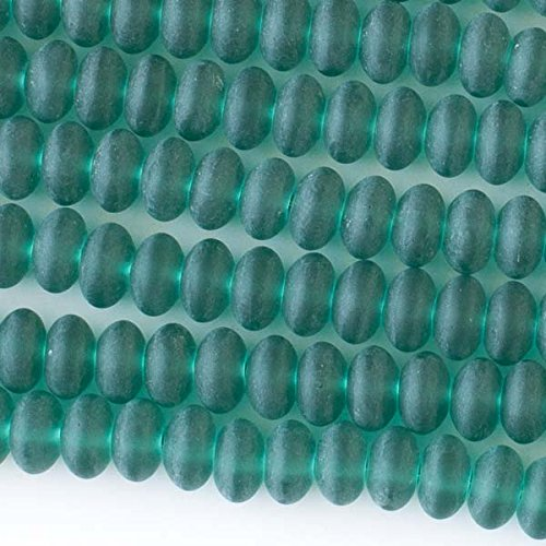 Cherry Blossom Beads Sea Glass 8mm Matte Peacock Green Rondelle Beads - 16 Inch Strand Approximately 80 Beads
