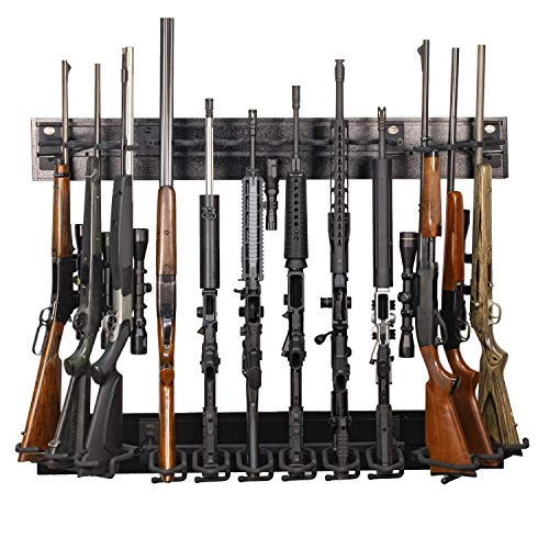 Hold Up Displays 12 Gun Rack Modern Black Steel Tactical Wall Mount for Rifles and Shotguns HD91 Made in The USA (Best Modern Assault Rifle)