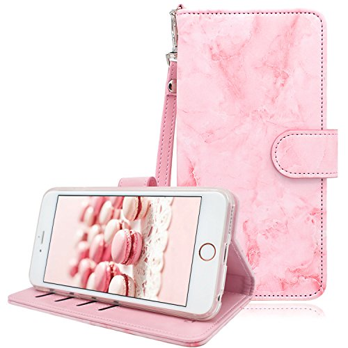 Dailylux iPhone 6S Plus Wallet Case,iPhone 6S Plus Case,iPhone 6 Plus Case PU Leather Wallet Case Stand Folio Flip Cover Magnetic Stand w/Card Slots for iPhone 6 Plus/6S Plus-Pink Marble