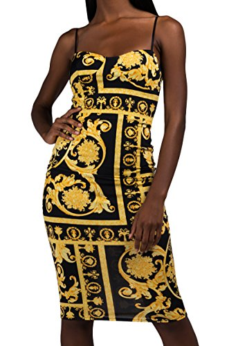 Baroque Print Dress (AKIRA Women's Buster Top Skinny Straps Baroque Print Stretch Fitted Bodycon Midi Maxi Dress-Black Multi_M)