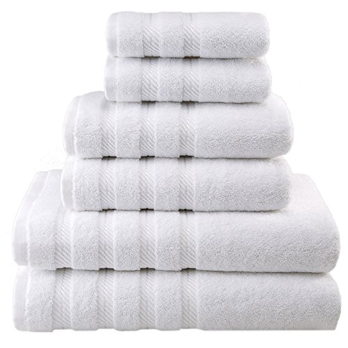 Premium, Luxury Hotel & Spa, 6 Piece Towel Set, Turkish Towels 100% Cotton for Maximum Softness and Absorbency by American Soft Linen, [Worth $72.95] (WHITE)