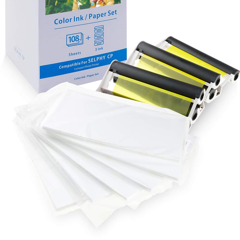 Oulei KP-108IN Photo Paper 4 x 6 Inch 108 Sheets Paper and 3 Color Ink Cassettes Set KP108 for Canon SELPHY CP Photo Printer CP1300 CP1200 CP910 CP900