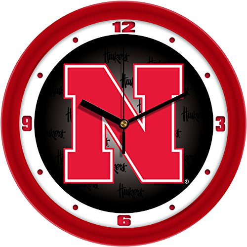 Glass Ncaa Clock - SunTime NCAA Nebraska Cornhuskers Wall Clock