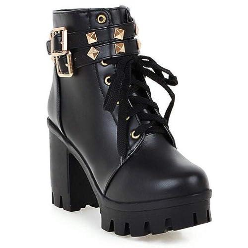 c5a84524c7b Botas De Mujer Señoras Bloque De Tacón Grueso Cremallera Botines con Cordones  Zapatos Casuales  Amazon.es  Zapatos y complementos