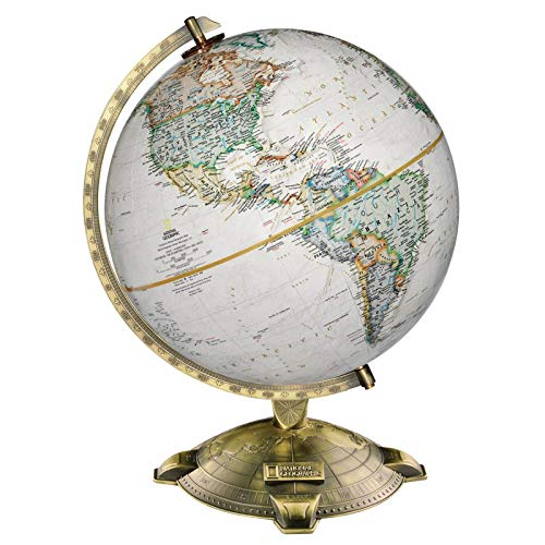 - Antique Plated Globe National Geographic Cartographic Desktop Globe Educational Crafts Social Studies Material