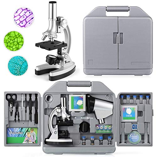 TELMU Microscope 300X-600X-1200X 70pcs+ Accessory Microscope Kit for Beginner with Metal Base and Mini Projector