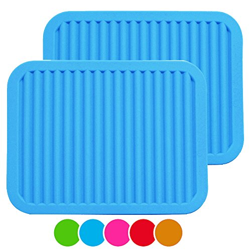 "ME.FAN 9"" x 12"" Big Silicone Trivets - Multi-purpose Silicone Pot Holders, Spoon Rest and Kitchen Table Mat - Insulated, Flexible, Durable, Non Slip Hot Pads and Coasters (2 Set) Blue"