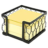 3 X 3 Metal Chicken Wire Mesh Sticky Note Dispenser, Office Memo Pad Holder with Black Matte Finish