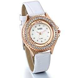 JewelryWe Floating Rhinestones Pave Womens Bling Watch Leather Strap Wristwatch (White)