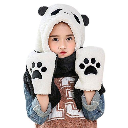 27' Multi Pocket (Unisex Child Warm Panda Crochet Beanie Hat with Built-in Earmuffs,Scarf Gloves Set)