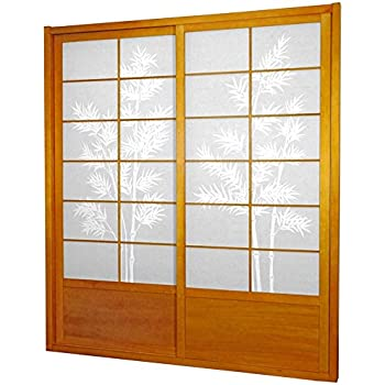 Tall Bamboo Tree Shoji Sliding Door Kit   Honey