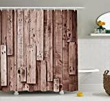 Wooden Shower Curtain Set by Ambesonne, Vintage Barn Shed Floor Wall Planks Sepia Art Old Natural Plywood Lodge Image Print, Fabric Bathroom Decor with Hooks, 84 Inches Extra Long, Grey Brown