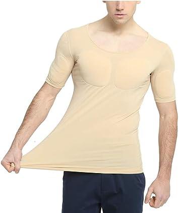 Ning Hombres Camisa musculosa Sin Costura Gym Activewear Camiseta Acolchada en el Pecho Musculo Falso Chaleco,Natural,XS: Amazon.es: Deportes y aire libre
