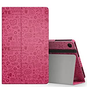 MoKo Case for Fire HD 8 2016 Tablet - Slim Folding Stand Cover with Auto Wake / Sleep for Amazon Fire HD 8 (Previous 6th Generation - 2016 Release ONLY), Cutie Charm MAGENTA