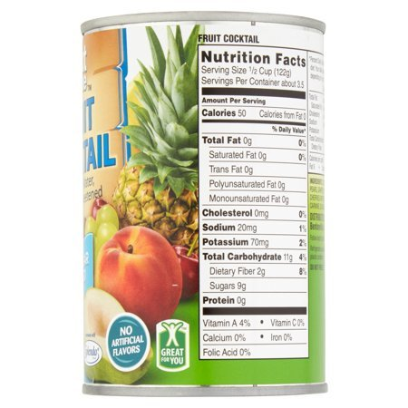 Great Value No Sugar Added Fruit Cocktail in Water, 14.5 oz, pack of 2