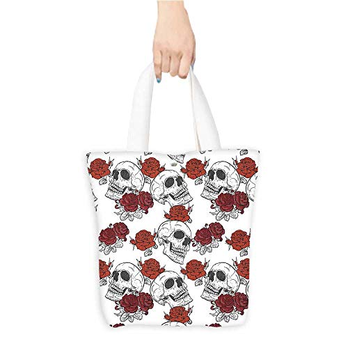 Custom Printed Grocery Tote Bag Gothic Dead Skelet Figur Halloween Spooky Romantic Grey Eco-Friendly Multi Purpose W16.5 x H14 x D7 INCH