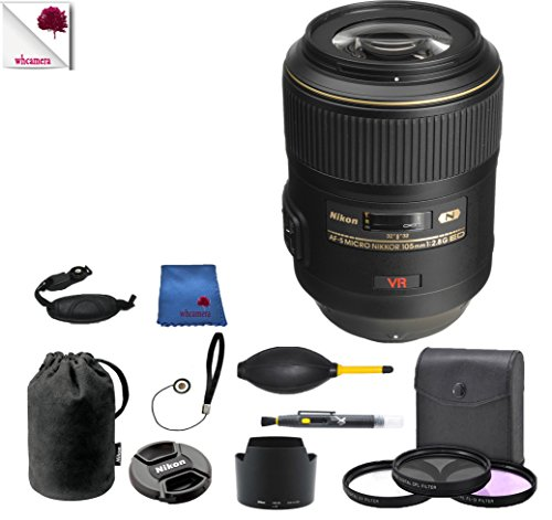 Nikon 105mm f/2.8G IF-ED VR 2160 (USA) Full Accessory Bundle Package Deal