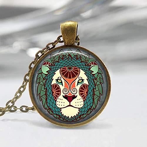 wangxiyan Leo Zodiac Glass Pendant - Leo Zodiac Jewelry - Zodiac Necklace - Art Pendant - Zodiac Necklace -Zodiac Charm,Astrology Pendant(Gold,32 inch)