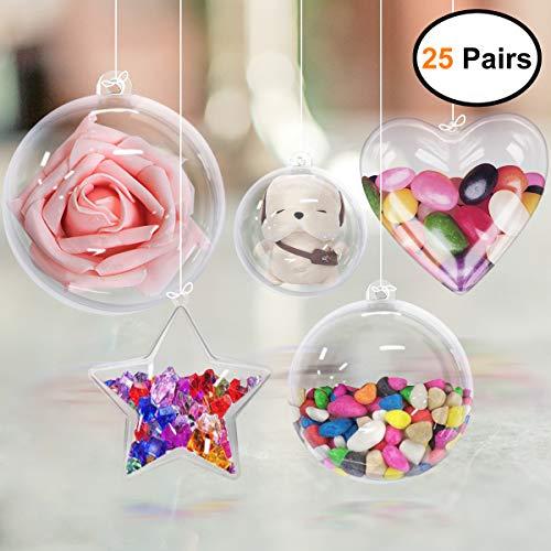 GameXcel Clear Plastic Balls - Bath Bomb Mold Set - Craft Plastic Ornaments - DIY Ornaments Balls Fillable Bath Bomb Kit Wedding Decorations Party Christmas Decor - 25 Pairs -