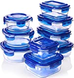 Utopia Kitchen Glass Food Storage Container Set - Blue - 18 Pieces Set (9 Containers and 9 Lids) Reusable Multipurpose Use for Home Kitchen or Restaurant - BPA Free