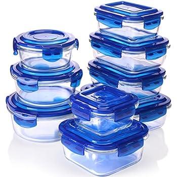 Utopia Kitchen Glass Food Storage Container Set - Blue - 18 Pieces Set (9 Containers  sc 1 st  Amazon.com & Amazon.com: Utopia Kitchen Glass Food Storage Container Set - Blue ...