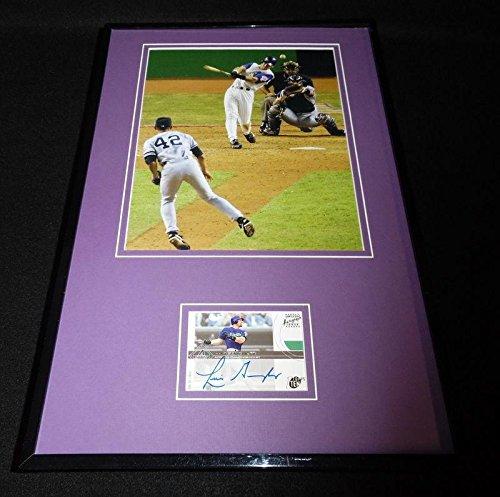 Luis Gonzalez Signed Framed 11x17 Photo Display TOPPS Diamondbacks World Series - Baseball Slabbed Autographed Cards ()