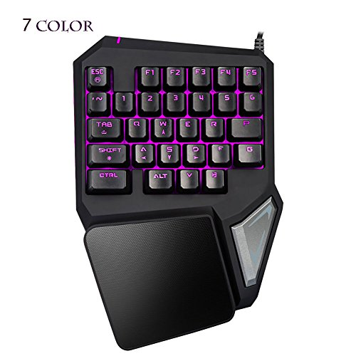 (Magical Led Computer Gaming Keyboard - Globalama GK0001 (2017 New Design) PC Portable Wired USB Black Ergonomic Game Keypad Including 7 colors LED, 29 Programable Keys, Compatible With Windows System)