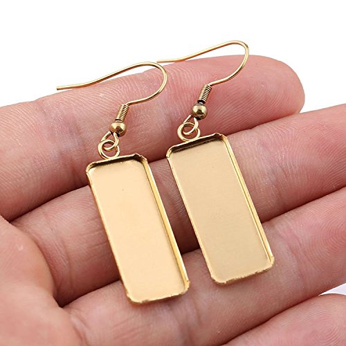 Plated Rectangle cabochon Earring Base Settings 10x25mm Dia Blank Stainless Steel Earrings Bezel Trays 10pairs (Gold)