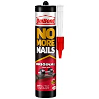 UniBond No More Nails Original, Heavy-Duty Mounting Adhesive, Strong Glue for Wood, Ceramic, Metal & More, White Instant Grab Adhesive, 1 x 365g Cartridge