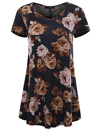 Cotton Floral Tunic - All for You Women's Short Sleeve V-Neck Flare Hem Floral Print Tunic Navy 61068 Large