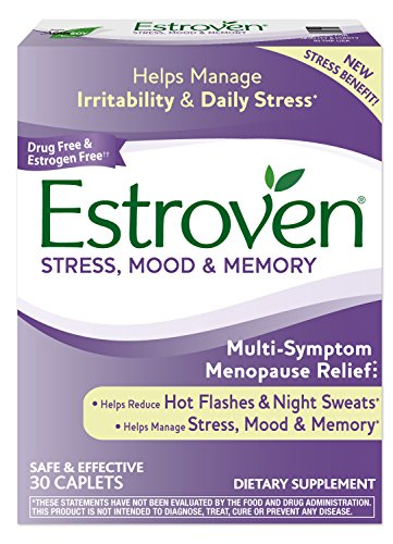 Estroven Stress Plus Mood & Memory   Menopause Relief Dietary Supplement   Safe Multi-Symptom Relief   Helps Reduce Hot Flashes & Night Sweats*   Helps Manage Daily Stress & Mood*   30 Caplets
