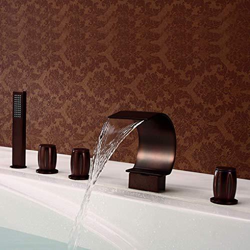 Bathroom Bathtub Faucet, Sitting Five-Hole Edge Great Falls Bathtub Faucet Set, Modern Bathroom Sink Faucet, Five-Piece Bathroom Faucet, Bathroom Faucet Decoration,Brass ()