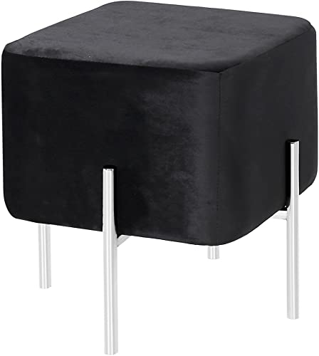 Uptown Club The Ward Collection Velvet Ottoman with Steel Tube Legs, Black