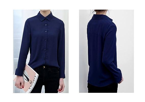 2bec3234321 ARJOSA Women s Chiffon Long Sleeve Button Down Casual Shirt Blouse Top at  Amazon Women s Clothing store