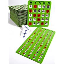 Bingo Kit - 10 Jumbo Easy Read Finger-tip Cards, Masterboard and Calling Cards (Green)