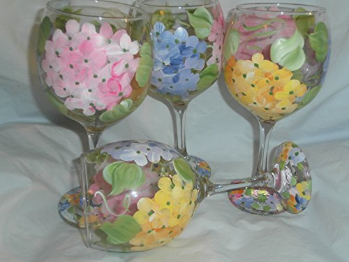 Floral Painted Glass - Hand painted Pastel hydrangeas. Pink, Yellow and purples. Wonderful for spring. Set of 4. 20 ounces each. Made in the usa.