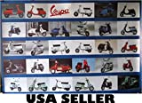 Vespa motoscooter history horiz POSTER 34 x 23.5 dark blue bkgrnd 29 motorcycle Italian motorbike models 1951-2005 (sent FROM USA in PVC pipe)
