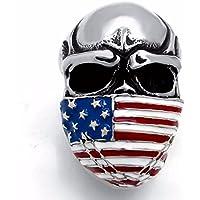 Elfasio Men's Stainless Steel Band Ring American Flag Mask Skull Biker (Us size 8 to 15)