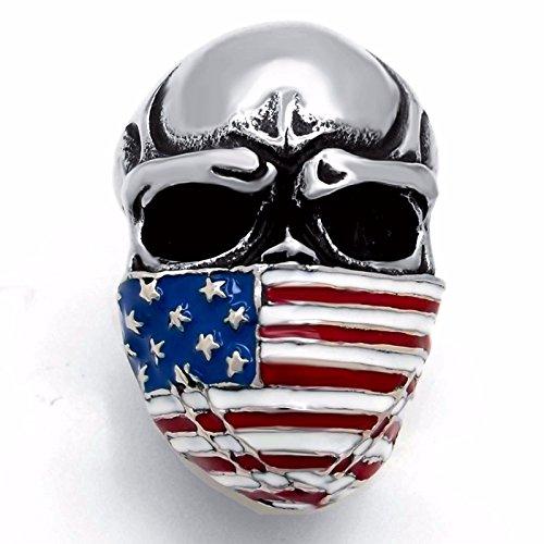 Elfasio Men's Stainless Steel Band Ring American Flag Mask Skull Biker (Us size 9)