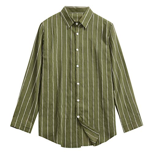 Shirt Top Blouse Big & Tall Long-Sleeve Gingham Casual Shirt fit Fashion Lapel Striped Men (L,Green)