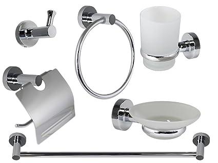 Vetrineinrete® set bagno in acciaio cromato e vetro satinato 6 pezzi