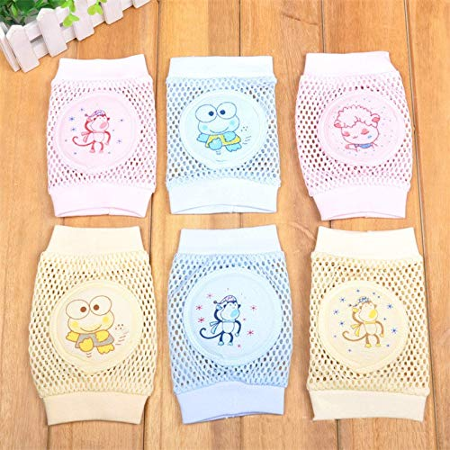 Gold Happy Cartoon Baby Knee Pads Anti Slip Mesh Cushion Crawling Protector Cotton Kids Kneecaps Children for Grils Boys Leg Warmers