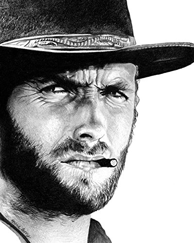 (Clint Eastwood, Cowboy, Western, Vintage Hollywood, 8x10 Art Print by Wendy Hogue Berry)