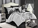 Chic Home Olivia 20-Piece Comforter Set Reversible Paisley Print Complete Bed in a Bag with Sheet Set, Window Treatments, and Decorative Pillows, King Black/White