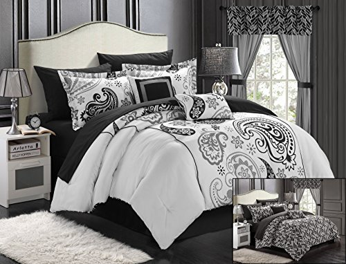 Chic Home Olivia 20-Piece Comforter Set Reversible Paisley Print Complete Bed in a Bag with Sheet Set, Window Treatments, and Decorative Pillows, Queen Black/White