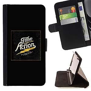Momo Phone Case / Flip Funda de Cuero Case Cover - Tiempo Acción oro impresiones Negro eléctrico - HTC One M8