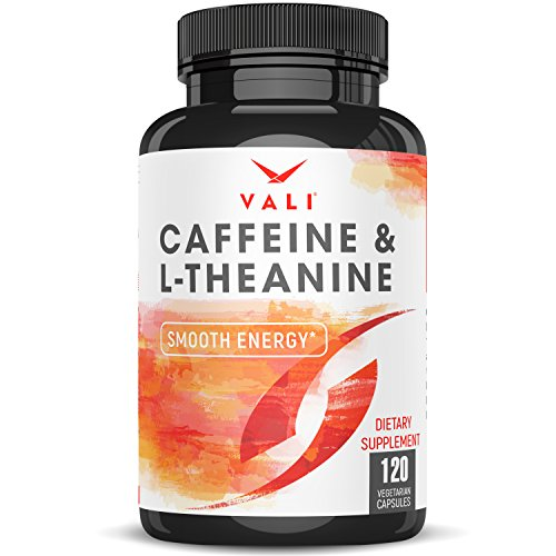 Caffeine 50mg with L-Theanine 100mg Pills for Smooth Energy, Focus, Clarity - 120 Veggie Capsules. Natural Cognitive Performance Stack for Focused Mind & Body. Extra Strength, No Jitters & No Crash